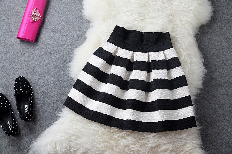 New Arrival Fashion Brand Black And White Stripe High Waisted Elastic Ball Gown Plus Short Skirt For Women 752-in Skirts from Apparel & Accessories on Aliexpress.com