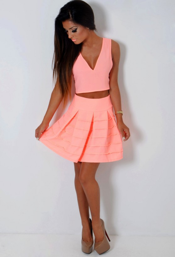 Sugar Bay Neon Peach Skater Skirt | Pink Boutique