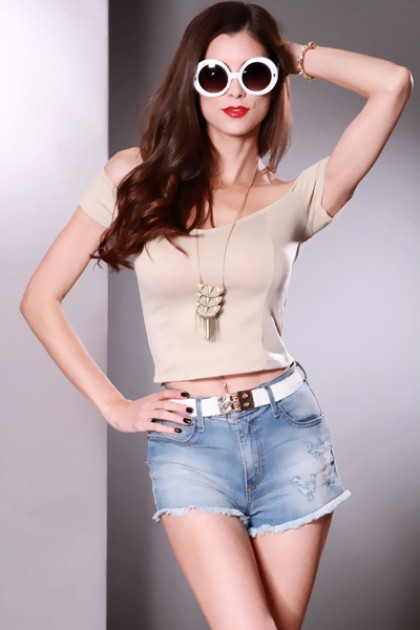 Beige Sweetheart Neckline Off Shoulder Crop Top / Sexy Clubwear | Party Dresses | Sexy Shoes | Womens Shoes and Clothing | AMI CLubwear
