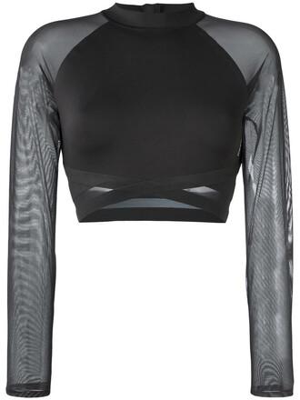 top cropped sheer women spandex black