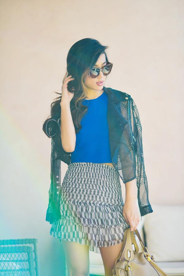 neon blush skirt shoes bag sunglasses