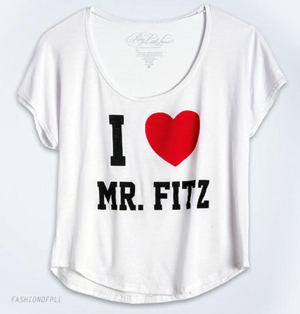 pretty little liars mr.fitz i heart bag shirt white top