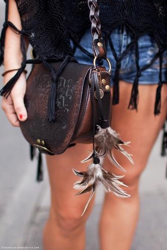 bag feathers leather purse brown handbag soulder bag