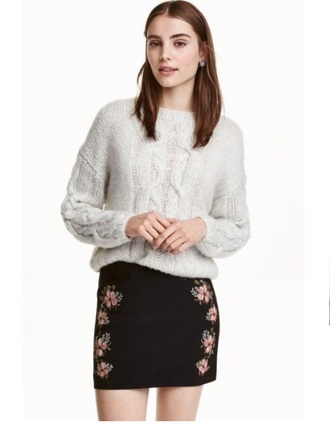 skirt mini skirt flowers pinkflowers embroidered embroidered floral