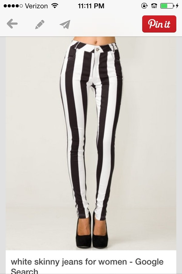 jeans white and black stripe