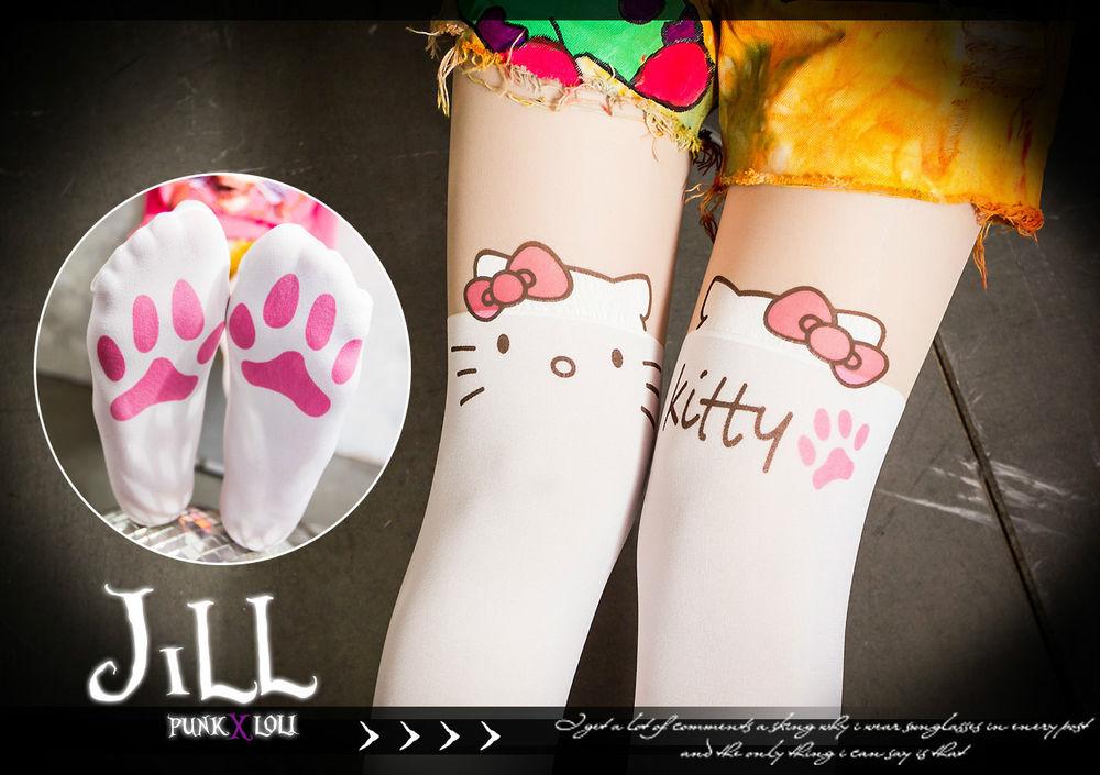 Japan Lolita Cartoon Fantasy Hello Kitty Dream Layered Look Paw Print Pantyhose | eBay