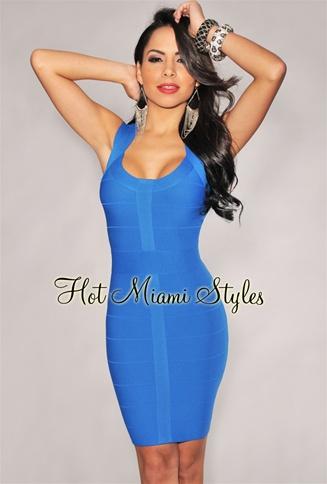 Royal-Blue Round Neck Bandage Dress