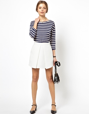 ASOS   ASOS Mini Skirt in Texture with Fold Front at ASOS