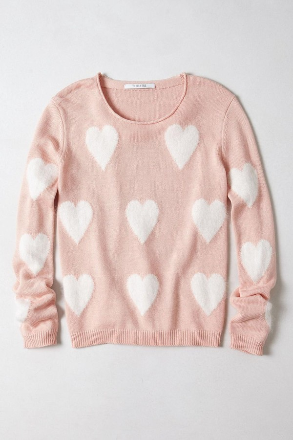 sweater pink heart heart sweater