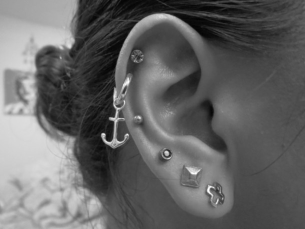 jewels earrings piercing cuffs anchor pyramid studs sailor
