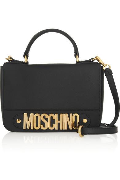 Moschino|Textured-leather shoulder bag|NET-A-PORTER.COM