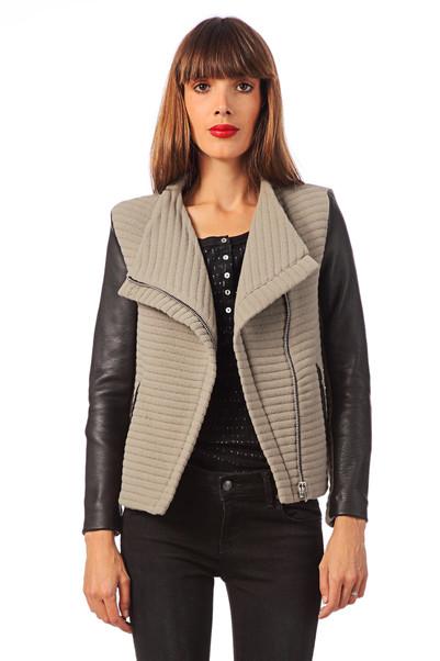Veste en laine et cuir d'agneau Mulen Vert Iro sur MonShowroom.com