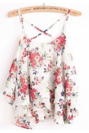 KCLOTH Spaghetti Strap Floral White Chiffon Vest