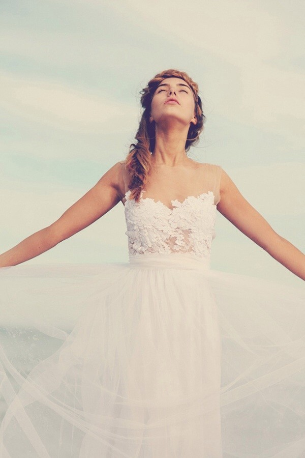 dress white lace gown tulle skirt