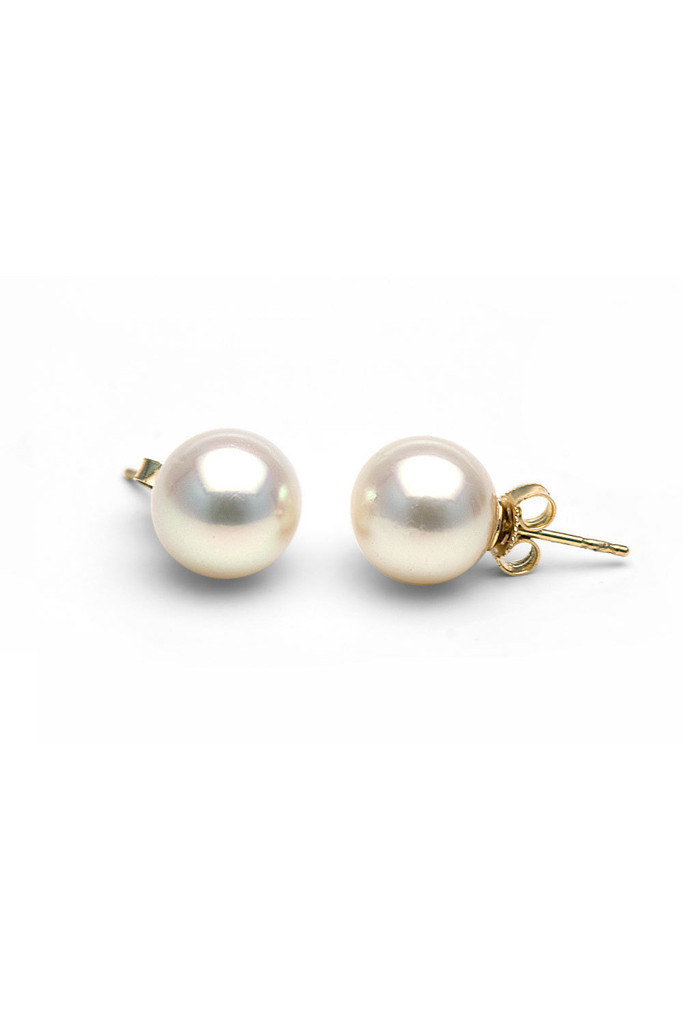 [ Free Shipping ] 10.0-11.0mm White South Sea Pearl Stud Earrings AAA  | Goodnight Macaroon