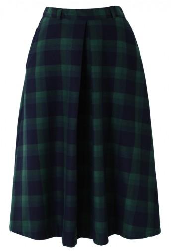 Green Plaid Check Midi Skirt - Retro, Indie and Unique Fashion