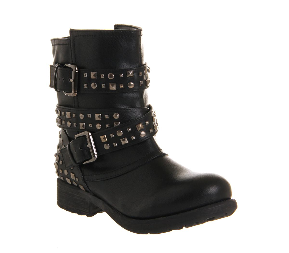 Womens Office Bold Stud Biker BLACK Boots | eBay