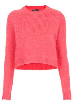 Knitted Fluffy Crop Jumper - Topshop USA