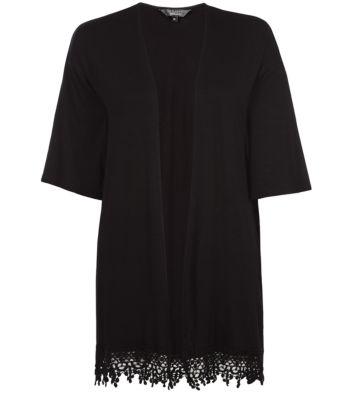 Teens Black Crochet Hem Longline Kimono