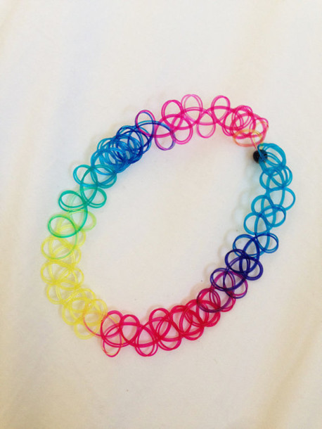 jewels choker necklace choker necklace rainbow colorful choker necklace tumblr