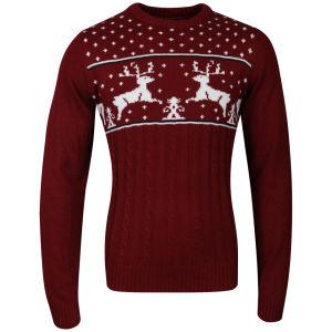 Christmas Branding Reindeer Knitted Jumper - Red Mens Clothing | TheHut.com