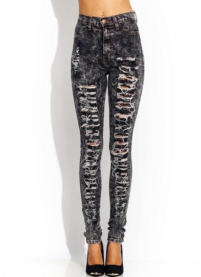 High-Waisted-Distressed-Jeans BLACK DKBLUE JADE LTBLUE OLIVE ORANGE ROYAL - GoJane.com