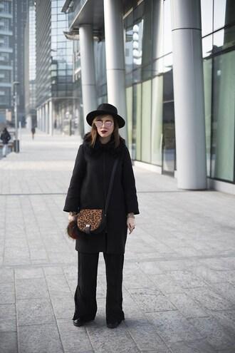 once upon a time blogger hat coat bag shoes pants crossbody bag felt hat black coat winter outfits black pants