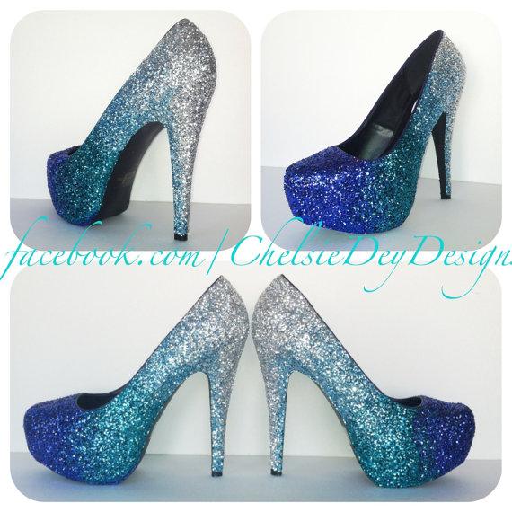 Faded Blues Glitter High Heels by ChelsieDeyDesigns on Etsy