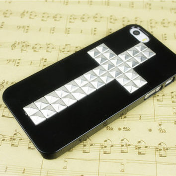 Personalized iphone 5 case studded iphone 4s case cross phone case sliver metal iphone 5s covers clear 5s iphone 4 otterbox iphone 5c cases on Wanelo