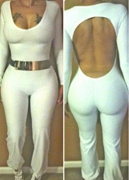 jumpsuit open back white jumpsuit white jumpsuit long sleeves long sleeve jumpsuit