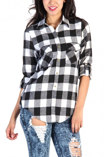 OMG Plaid Button Up Shirt - Black / White