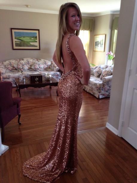 dress prom dress copper sequin dress