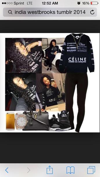 jumpsuit india westbrooks celine black outfit tumblr