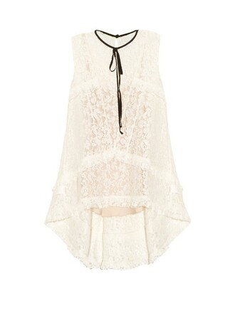 top lace top ruffle lace white