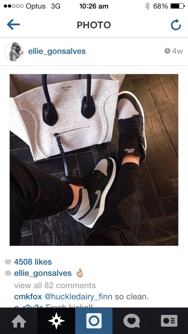 bag shoes nike nike air force 1 sportswear grey celine celine bag white celine paris white and grey
