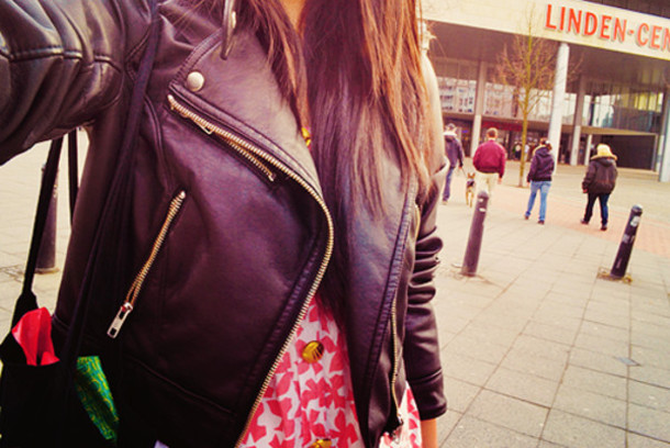 floral leather jacket pink white black