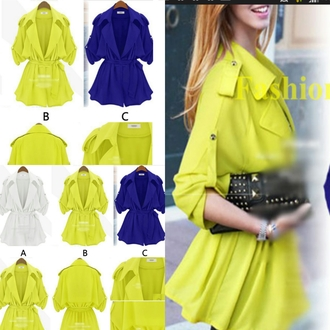 blouse outerwear 3/4 sleeve neon pop blouse neon white blouse formal smart casual glamour chic muse hippie chic office outfits office wear flowy top chiffon blouse