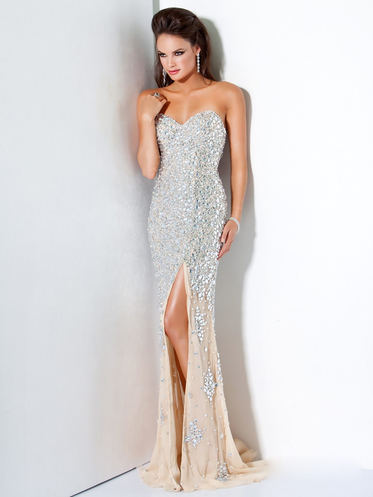 Silver Nude Crystal Encrusted Prom Evening Dress Jovani 4247 [SH165] - $258.00 :