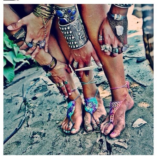 shoes hippie summer crochet barefoot sandals wedding accessories music festival barefoot hippie chic hipster bohemian hippie