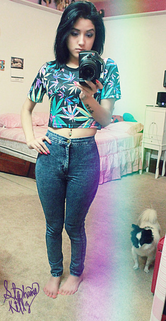 jeans high waisted jeans high waisted weed crop tops pants shirt marijuana