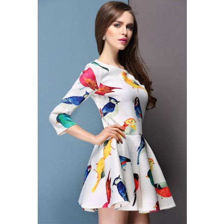 Elegant Fresh bird floral print slim 3/4 sleeve dress 2014 Spring Fashion Womens