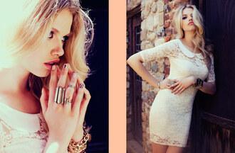dress nastygal nastygal.com shopnastygal.com white lace dress crystal ring jewels