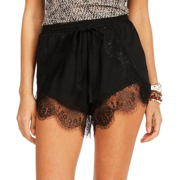 Black Lace Jogger Shorts - Polyvore
