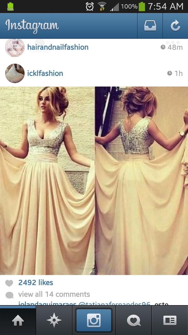 dress silver sequin dress creme dress prom dress long prom dress long dress v cut neck dress v neck dress