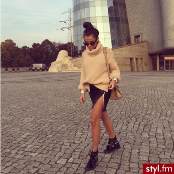 skirt black zip skirt