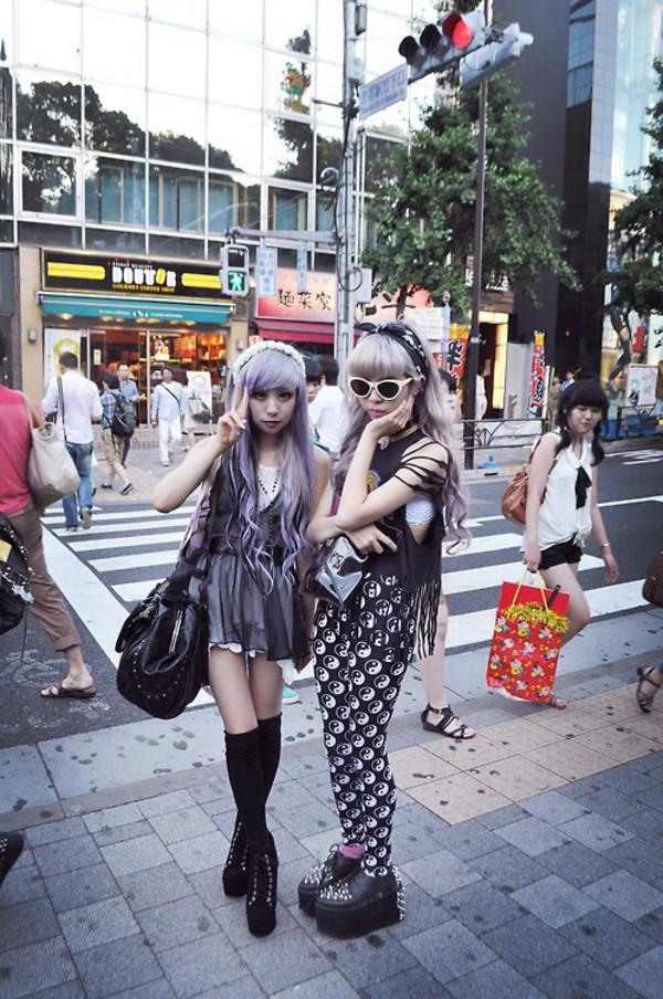 pants yin yang black kawaii kawaii grunge cute japanese pastel pastel goth pastel grunge grunge dress