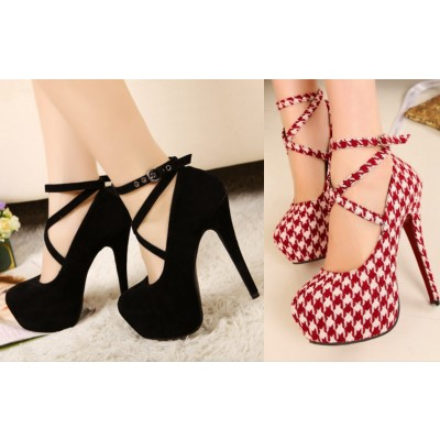 Buy Fashion Clothing -  High heels cross straps women's platform shoes - Heels - Shoes