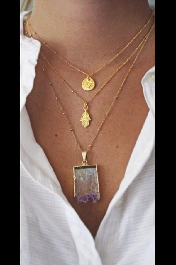 jewels hamsa necklace gemstone gold necklace