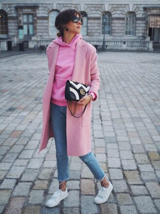 a dash of fash blogger jewels coat bag sweater shoes jeans sunglasses pink coat winter outfits hoodie gucci bag
