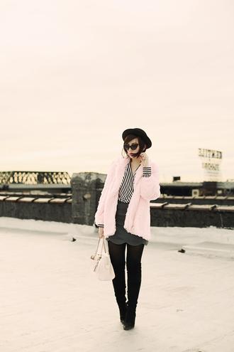 coat hat skirt shoes blouse bag keiko lynn sunglasses